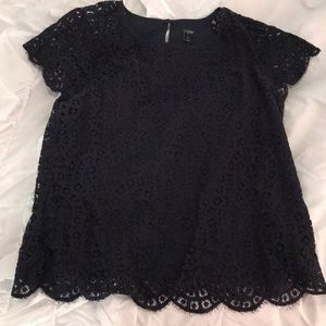 Jcrew lace scalloped blouse
